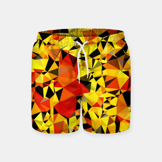 Thumbnail image of geometric triangle pattern abstract in orange yellow red Swim Shorts, Live Heroes
