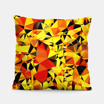 Thumbnail image of geometric triangle pattern abstract in orange yellow red Pillow, Live Heroes
