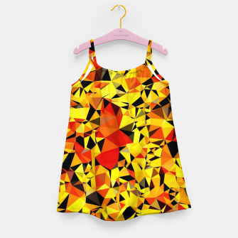 Thumbnail image of geometric triangle pattern abstract in orange yellow red Girl's dress, Live Heroes