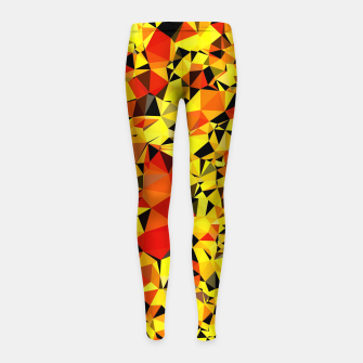Thumbnail image of geometric triangle pattern abstract in orange yellow red Girl's leggings, Live Heroes