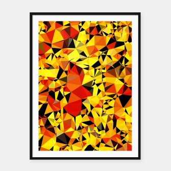 Thumbnail image of geometric triangle pattern abstract in orange yellow red Framed poster, Live Heroes