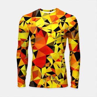 Thumbnail image of geometric triangle pattern abstract in orange yellow red Longsleeve rashguard , Live Heroes