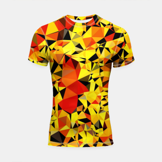 Thumbnail image of geometric triangle pattern abstract in orange yellow red Shortsleeve rashguard, Live Heroes