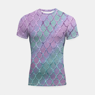 Thumbnail image of Mermaid Princess Glitter Scales Glam #1 #shiny #stripes #decor #art  Shortsleeve rashguard, Live Heroes