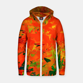 Thumbnail image of geometric triangle pattern abstract in orange green Zip up hoodie, Live Heroes