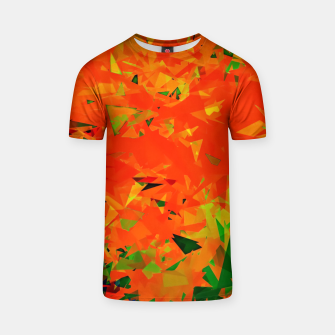 Thumbnail image of geometric triangle pattern abstract in orange green T-shirt, Live Heroes