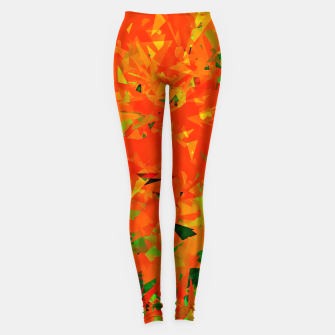 Thumbnail image of geometric triangle pattern abstract in orange green Leggings, Live Heroes