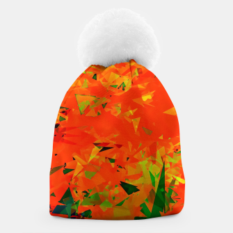 Thumbnail image of geometric triangle pattern abstract in orange green Beanie, Live Heroes