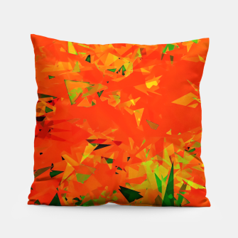Thumbnail image of geometric triangle pattern abstract in orange green Pillow, Live Heroes