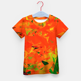Thumbnail image of geometric triangle pattern abstract in orange green Kid's t-shirt, Live Heroes
