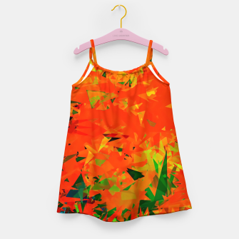 Thumbnail image of geometric triangle pattern abstract in orange green Girl's dress, Live Heroes