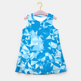 Thumbnail image of geometric triangle pattern abstract in blue Girl's summer dress, Live Heroes