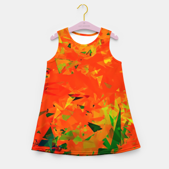Thumbnail image of geometric triangle pattern abstract in orange green Girl's summer dress, Live Heroes