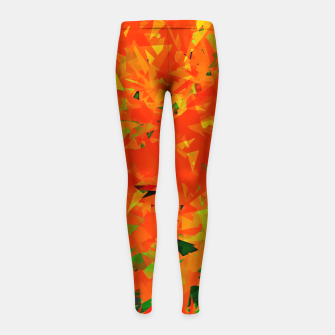 Thumbnail image of geometric triangle pattern abstract in orange green Girl's leggings, Live Heroes