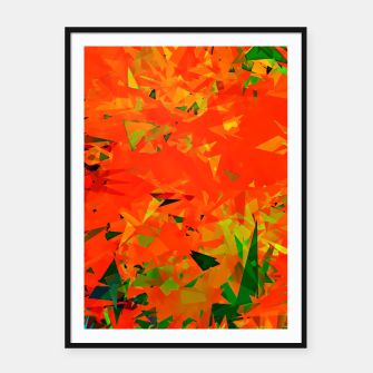 Thumbnail image of geometric triangle pattern abstract in orange green Framed poster, Live Heroes