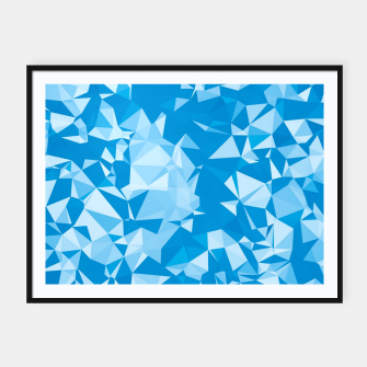 Thumbnail image of geometric triangle pattern abstract in blue Framed poster, Live Heroes