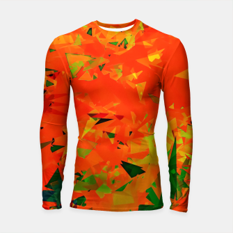 Miniatur geometric triangle pattern abstract in orange green Longsleeve rashguard , Live Heroes