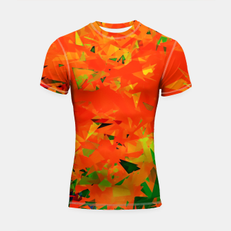 Thumbnail image of geometric triangle pattern abstract in orange green Shortsleeve rashguard, Live Heroes