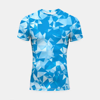 Thumbnail image of geometric triangle pattern abstract in blue Shortsleeve rashguard, Live Heroes