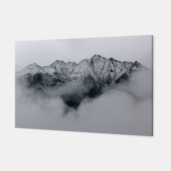 Winter Is Here - Misty Black Rocks Canvas Bild der Miniatur