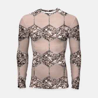 Miniatur Blush Hexagon Glitter Glam #2 #geometric #decor #art Longsleeve rashguard, Live Heroes