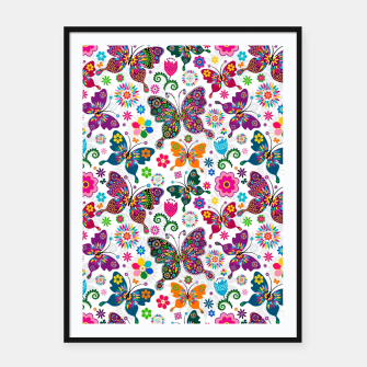 Thumbnail image of Colorful Butterflies Framed poster, Live Heroes