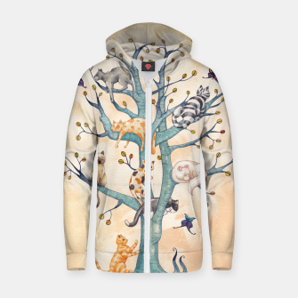 The tree of cat life Sudadera con capucha y cremallera  Bild der Miniatur