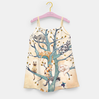 The tree of cat life Vestido para niñas Bild der Miniatur