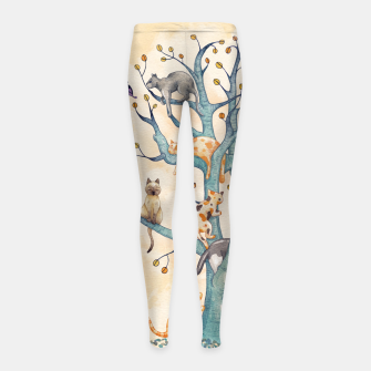 The tree of cat life Leggings para niña Bild der Miniatur