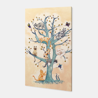 The tree of cat life Canvas Bild der Miniatur