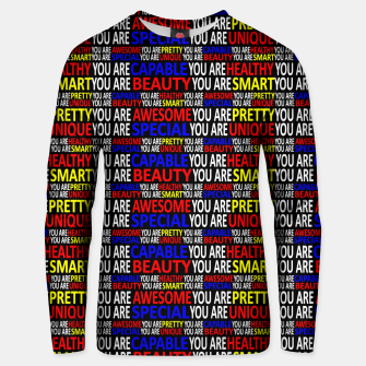 Thumbnail image of Motivational Typographic Colorful Print Pattern Unisex sweater, Live Heroes