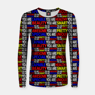 Thumbnail image of Motivational Typographic Colorful Print Pattern Women sweater, Live Heroes