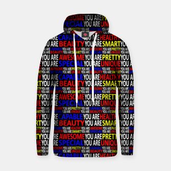 Thumbnail image of Motivational Typographic Colorful Print Pattern Hoodie, Live Heroes
