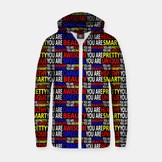Thumbnail image of Motivational Typographic Colorful Print Pattern Zip up hoodie, Live Heroes