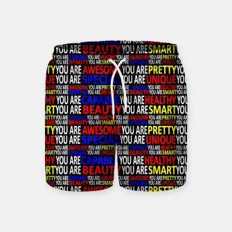 Thumbnail image of Motivational Typographic Colorful Print Pattern Swim Shorts, Live Heroes