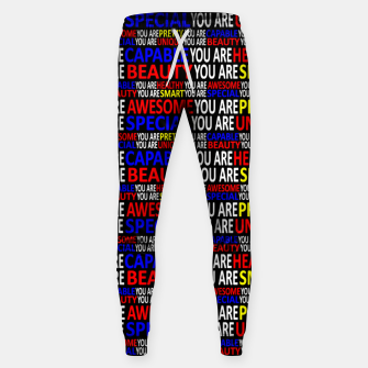 Thumbnail image of Motivational Typographic Colorful Print Pattern Sweatpants, Live Heroes