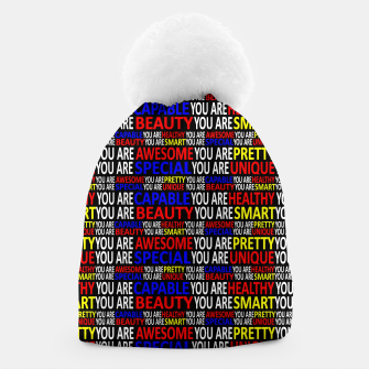 Thumbnail image of Motivational Typographic Colorful Print Pattern Beanie, Live Heroes