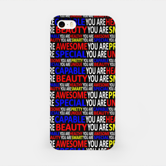 Thumbnail image of Motivational Typographic Colorful Print Pattern iPhone Case, Live Heroes