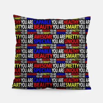 Thumbnail image of Motivational Typographic Colorful Print Pattern Pillow, Live Heroes