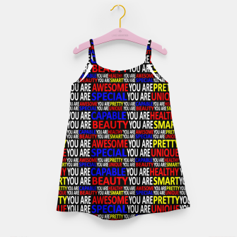 Thumbnail image of Motivational Typographic Colorful Print Pattern Girl's dress, Live Heroes