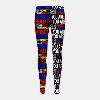 Thumbnail image of Motivational Typographic Colorful Print Pattern Girl's leggings, Live Heroes