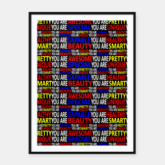 Thumbnail image of Motivational Typographic Colorful Print Pattern Framed poster, Live Heroes