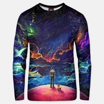 Thumbnail image of Man dog space Unisex sweater, Live Heroes