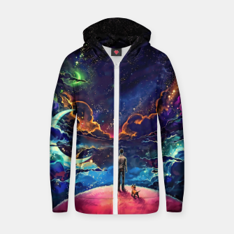 Man dog space Zip up hoodie thumbnail image