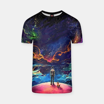 Thumbnail image of Man dog space T-shirt, Live Heroes