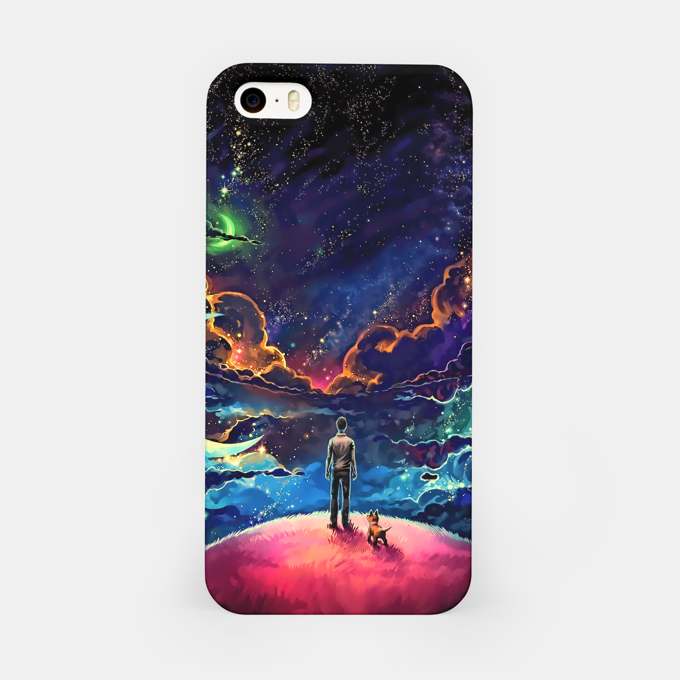 Foto Man dog space iPhone Case - Live Heroes