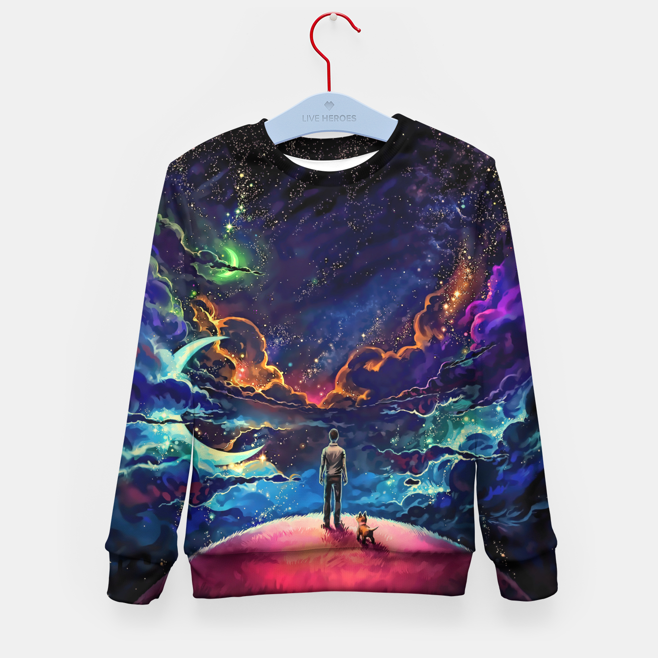 Image of Man dog space Kid's sweater - Live Heroes