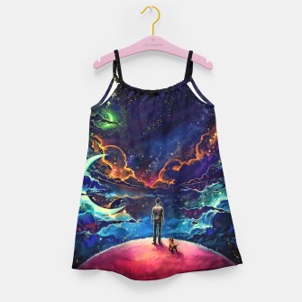 Man dog space Girl's dress thumbnail image