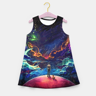 Man dog space Girl's summer dress thumbnail image