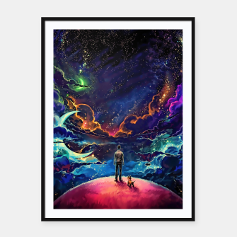 Man dog space Framed poster thumbnail image